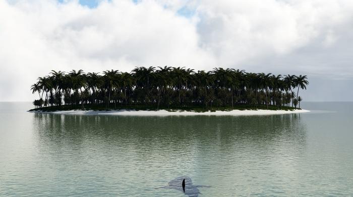 island, shark, photoshop, fantasy