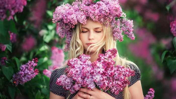 beautiful, girl, blonde, nature, macro photo, people, flowers, spring