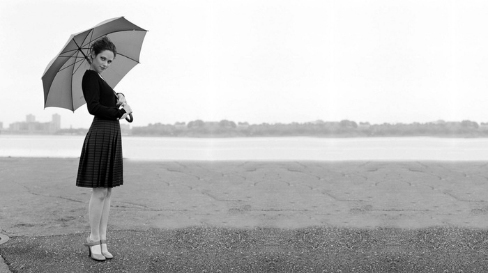monochrome, umbrella, actress, Zooey Deschanel, girl