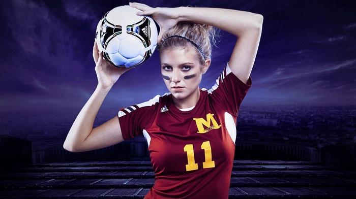 model, girl, soccer