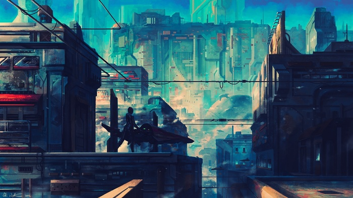 city, futuristic, Wipeout, artwork, fantasy art