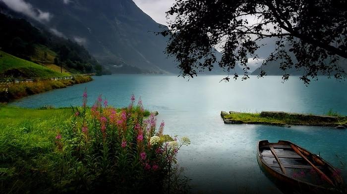 coast, nature, boat, rain