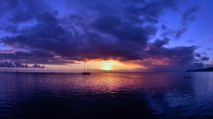 sunset, nature, sailfish, bay