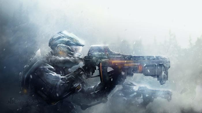 digital art, soldier, artwork, snow, weapon, futuristic