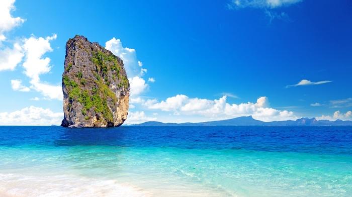 ocean, sky, mountain, clouds, rock, tropics, nature, summer