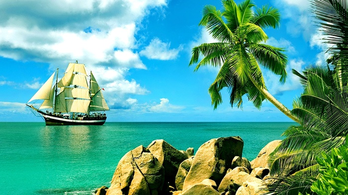 rest, nature, sky, tropics, sailfish, stones, palm trees, clouds, beach, summer, beautiful, stunner, ship