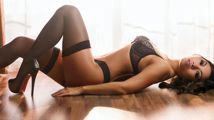 brunette, girl, sexy, girls, thigh-highs, sight, linen, statuette, lying down, posing, super