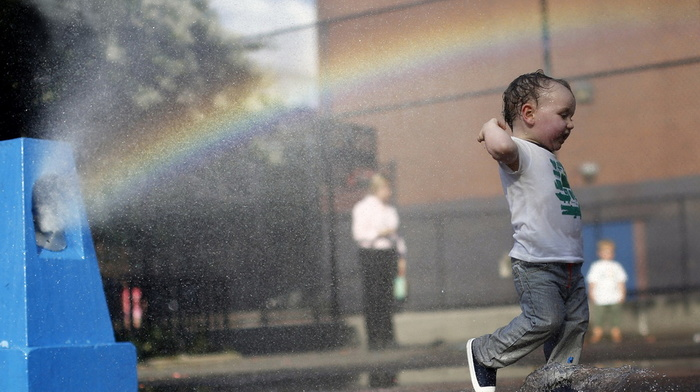children, summer, joy, water, splash, child, beauty, rainbow