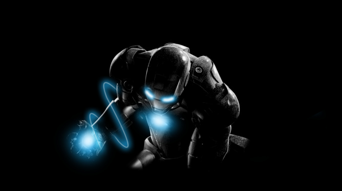 черный, железный человек, синий