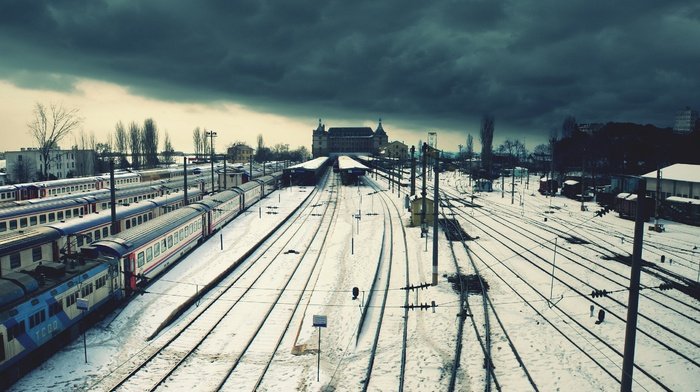 snow, railway, train, train station