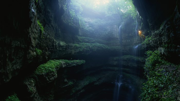 waterfall, landscape, light, nature, cave