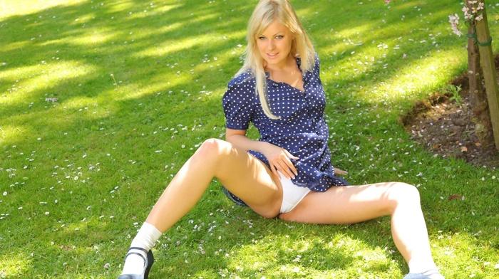 girls, blonde, sexy, posing, spring, park