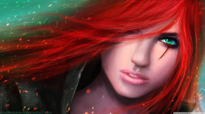 green eyes, redhead, magicnaanavi, Katarina du Couteau, Katarina, League of Legends