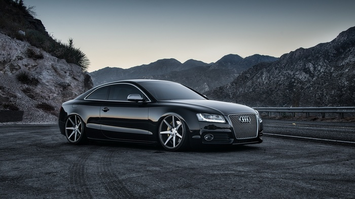 black, tuning, mountain, evening, nature, supercar, road, cars, sportcar, gray background, wheels, Audi