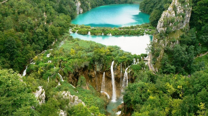 mountain, waterfall, rocks, resort, forest, stunner, people, beautiful, nature