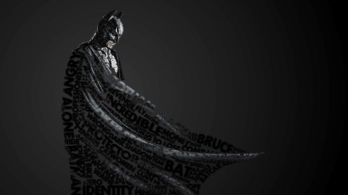 typographic portraits, Batman, quote, DC Comics, artwork