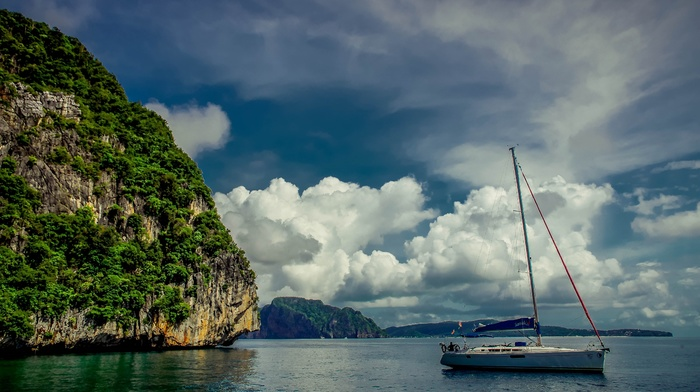 yacht, mountain, summer, clouds, rocks, resort, rest, sky, nature, tropics
