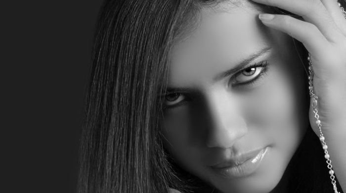 girls, sight, Adriana Lima, black and white, girl, model, face