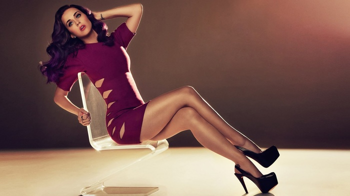 юбка, каблуки, девушка, Кэти Перри, знаменитость, фиолетовые волосы
