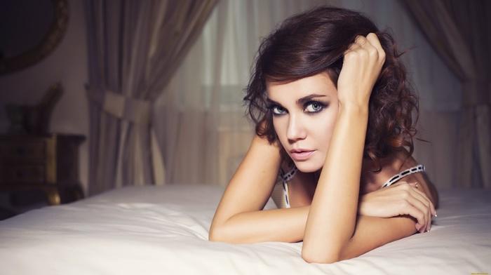 face, in bed, girl, brunette