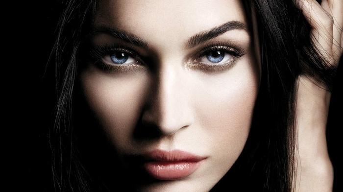 крупным планом, голубые глаза, знаменитость, Мэган Фокс, лицо, девушка