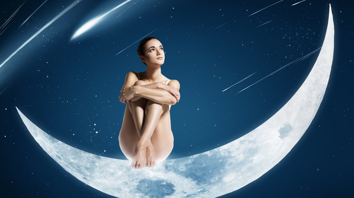 girl, space, sit, moon, stars, girls