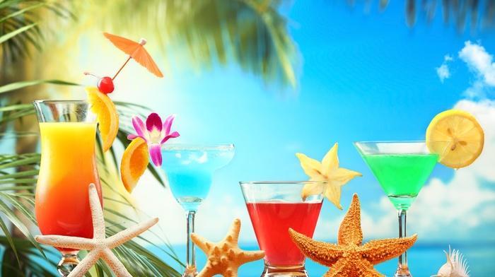 cocktails, тема, макро, лето, коктейли, вкусно, пляж, природа, пальмы