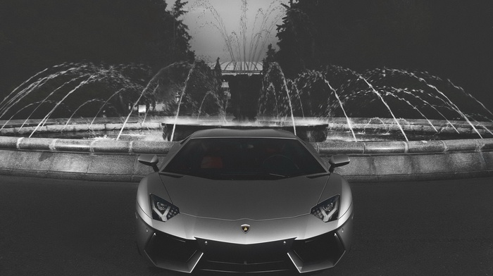 cars, lamborghini, aventador, theme, sportcar, Lamborghini, supercar, parking, black and white background, beautiful