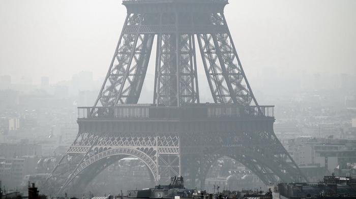Эйфелева башня, туман, Франция, Париж, архитектура