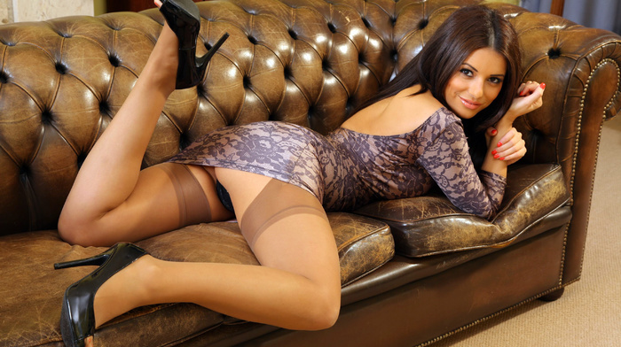 couch, brunette, feet, thigh-highs, sexy, dress, girls, panties