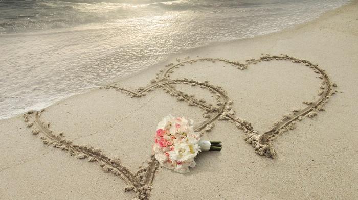 sand, love, nature, flowers, sunset, beach, light, sky, resort, ocean, summer, hearts