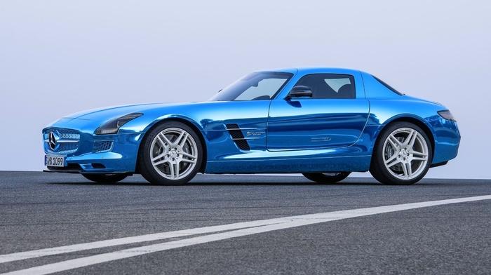 дорога, мерседес бенц, sls, mercedes-benz, синий, суперкар, автомобили, спорткар