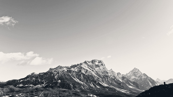 пейзаж, небо, горы, природа, монохром, снежная вершина