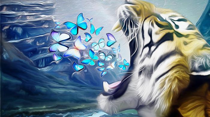 тигр, бабочки, пасть, рык, креатив