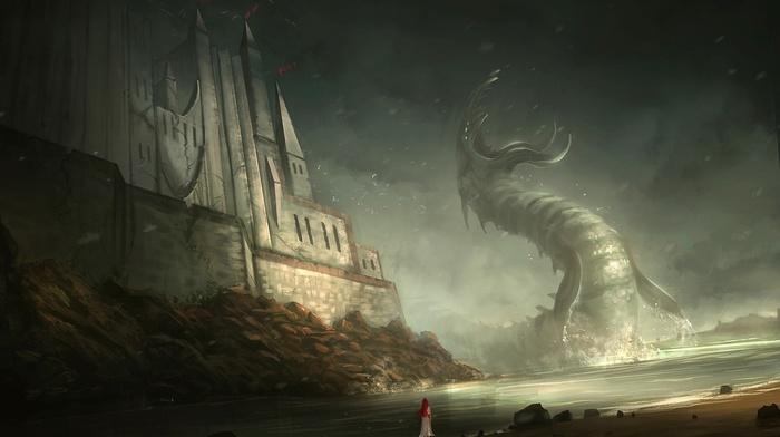 dragon, castle, fantasy art