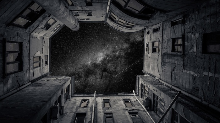 stars, galaxy, building, monochrome
