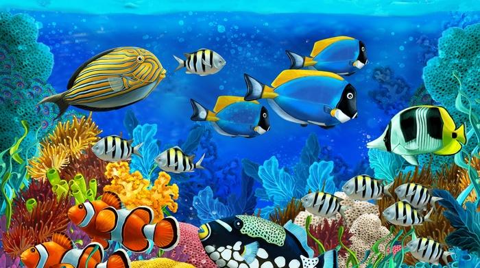 painting, stunner, ocean, underwater, art, beautiful