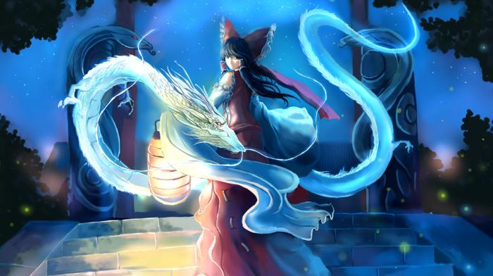touhou, Hakurei Reimu, anime girls, dragon