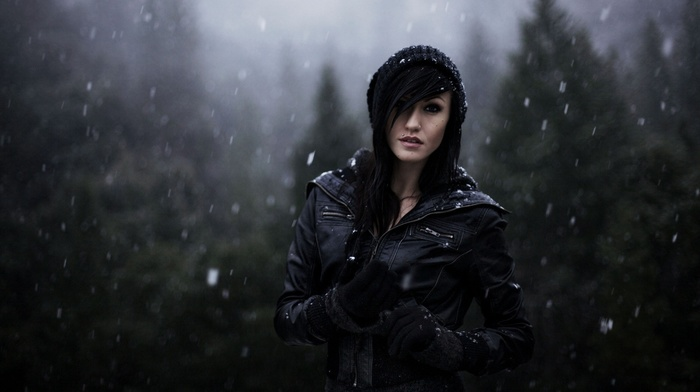 black hair, nature, forest, depth of field, winter, face, gloves, girl, emo, snow, leather jackets, piercing