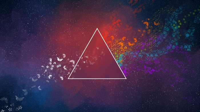 colorful, pink floyd, dark side of the moon, triangle, abstract, minimalism, butterfly