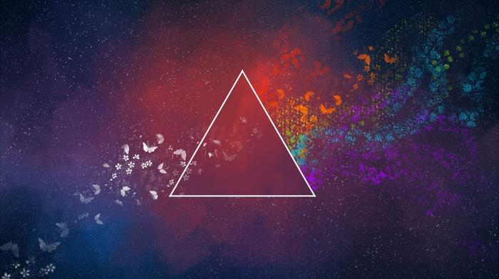 красочно, треугольник, абстрактные, минимализм, бабочка