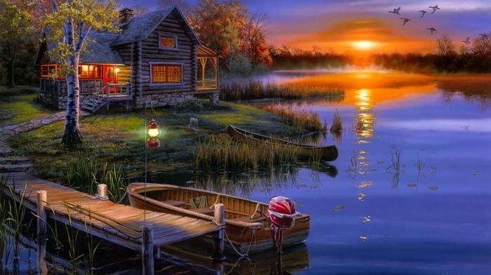 boat, landscape, lodge, autumn, sunset, lake