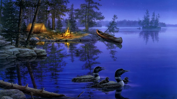 лес, ночь, lake, красивые, звезды, painting, darrell bush, night, звезда, a world away