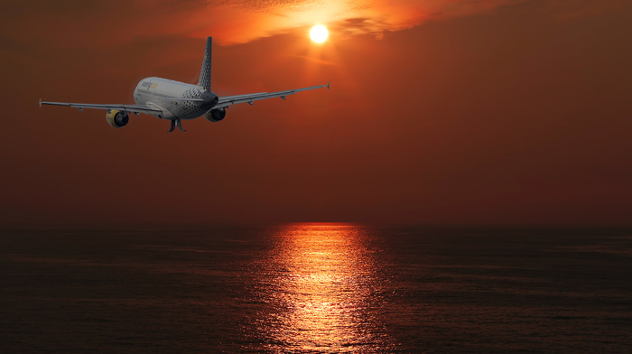 Sun, sky, aircraft, sunset, airplane, clouds
