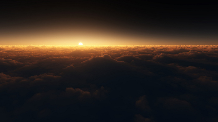 space, fly, sky, clouds, stunner, beautiful, Sun
