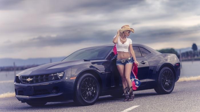 macro, sportcar, blonde, camaro, Chevrolet, girl, supercar, cloudy, photo, posing, cars