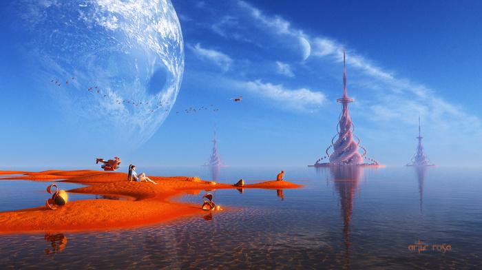 планета, птицы, песок, 3D, вода, существа