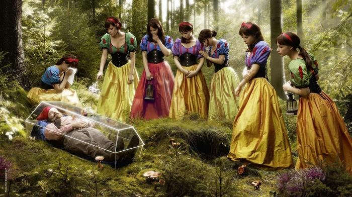 креатив, лес, Гном и 7 белоснежек, грусть, наоборот, юмор