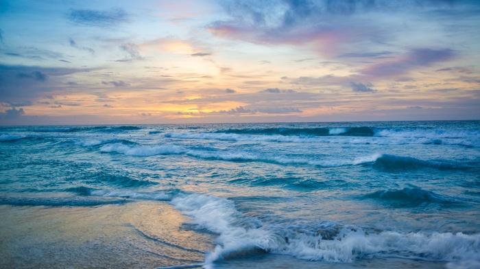 foam, nature, evening, sea, surf, sunset