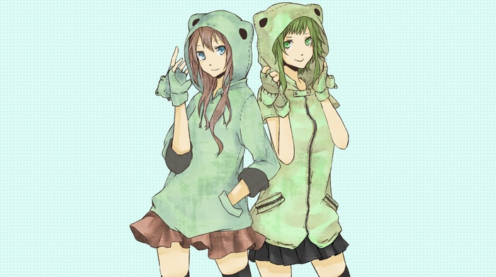 Vocaloid, green, Megpoid Gumi, Megurine Luka, anime girls